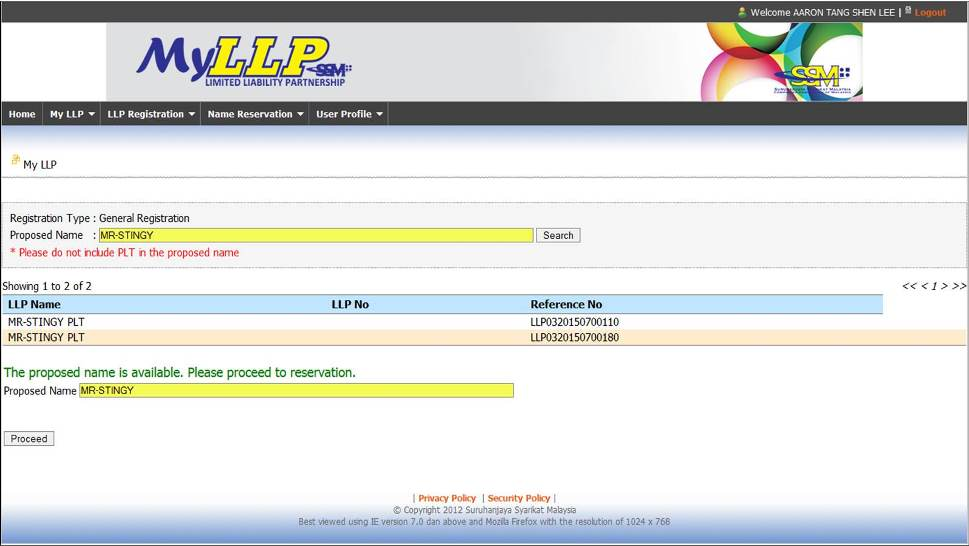 Screenshot of Name Search During LLP Registration